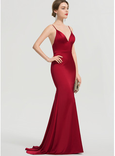 Trumpet/Mermaid V-neck Sweep Train Satin Prom Dresses