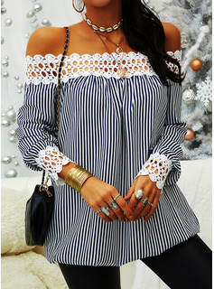 Lace Striped Off the Shoulder Long Sleeves Casual Elegant