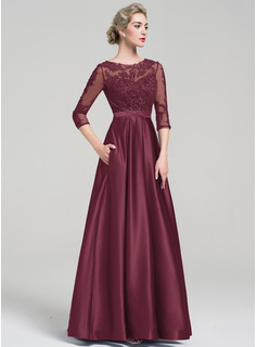 Ball-Gown Scoop Neck Floor-Length Satin Evening Dress With Pockets