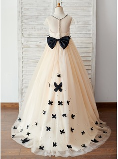 Ball-Gown/Princess Sweep Train Flower Girl Dress - Tulle Short Sleeves Scoop Neck With Bow(s)