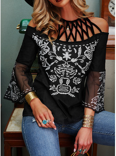 Floral Print Cold Shoulder 3/4 Sleeves Casual Blouses