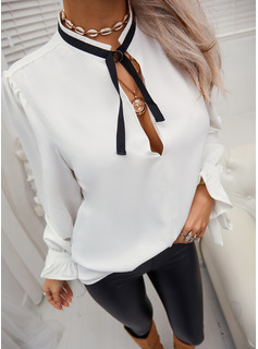 Solid Stand collar Long Sleeves Elegant Blouses