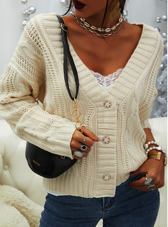 V-Neck Casual Solid Cable-knit Sweaters