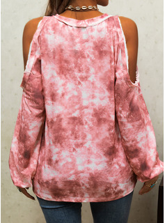 Tie Dye Print Cold Shoulder Long Sleeves Casual Blouses