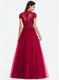 Ball-Gown/Princess Scoop Neck Floor-Length Tulle Prom Dresses With Sequins