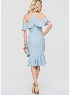 Trumpet/Mermaid V-neck Asymmetrical Stretch Crepe Cocktail Dress With Cascading Ruffles