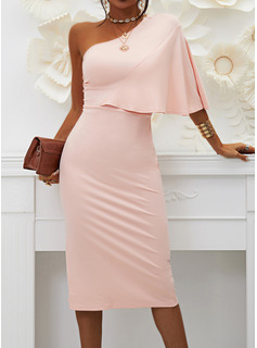 Solid Bodycon 1/2 Sleeves Midi Party Sexy Pencil Dresses