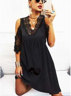 Solid A-line 1/2 Sleeves Midi Little Black Casual Skater Dresses