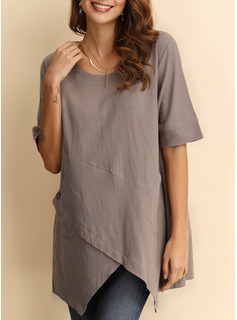 Solid Round Neck 1/2 Sleeves Casual