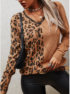 V-Neck Casual Leopard Lace Color Block Sweaters