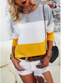 Color Block Round Neck Long Sleeves Casual T-shirt