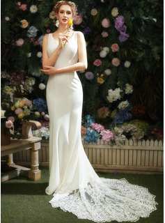 Trumpet/Mermaid V-neck Chapel Train Wedding Dress With Lace