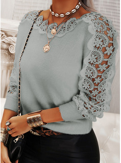 Round Neck Casual Lace Solid Sweaters