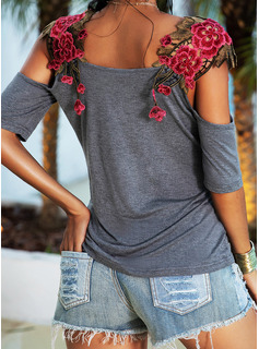 Embroidery Floral Cold Shoulder Short Sleeves Casual