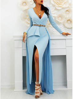 Solid A-line Long Sleeves Maxi Party Elegant Skater Dresses