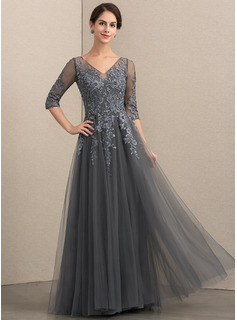 A-Line V-neck Floor-Length Tulle Lace Mother of the Bride Dress With Beading Sequins