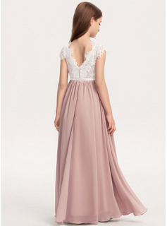 A-Line Scoop Neck Floor-Length Chiffon Lace Junior Bridesmaid Dress With Bow(s)