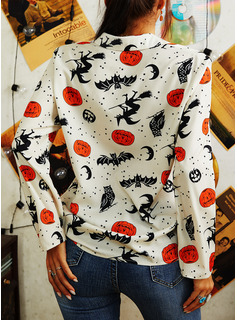 Print Lapel Long Sleeves Halloween Button Up Casual Shirt Blouses