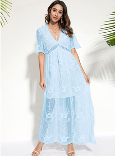 Lace Solid A-line Short Sleeves Maxi Elegant Skater Dresses