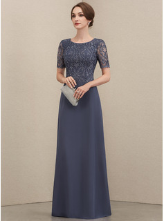 A-Line Scoop Neck Floor-Length Chiffon Lace Evening Dress