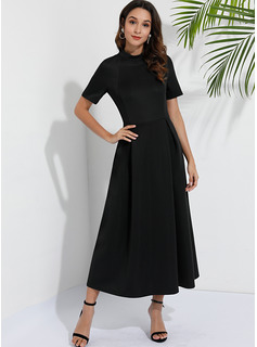 Midi Stand collar Polyester Solid Short Sleeves Fashion Dresses
