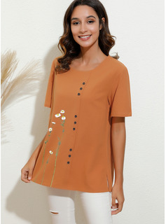 Floral Print Round Neck Short Sleeves Casual Blouses