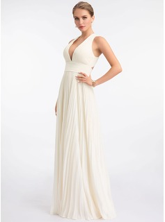 A-Line V-neck Floor-Length Chiffon Prom Dresses With Pleated