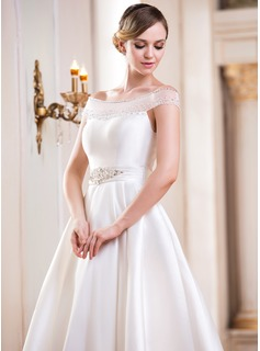Ball-Gown Off-the-Shoulder Tea-Length Satin Wedding Dress With Beading Sequins