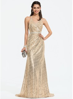 Trumpet/Mermaid V-neck Sweep Train Sequined Prom Dresses With Beading