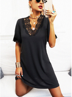 Solid Shift 1/2 Sleeves Mini Little Black Casual Tunic Dresses