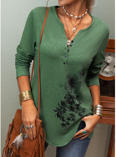 Floral Print V-Neck Long Sleeves Button Up Casual Blouses