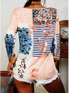 Patchwork Print Striped V-Neck 3/4 Sleeves Casual Blouses