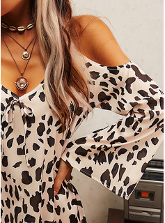 Leopard Shift Long Sleeves Mini Casual Vacation Tunic Dresses
