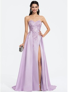 A-Line Sweetheart Sweep Train Satin Prom Dresses