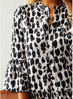 Leopard Shift 3/4 Sleeves Midi Casual Tunic Dresses