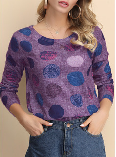 Geometric Print Print Round Neck Long Sleeves Casual