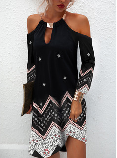 Print Shift Cold Shoulder Sleeve Long Sleeves Midi Casual Tunic Dresses