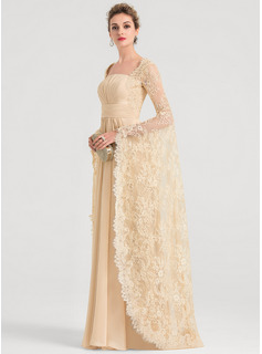 A-Line Square Neckline Floor-Length Chiffon Wedding Dress With Ruffle Beading