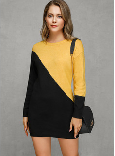 Round Neck Casual Long Color Block Chunky knit Sweaters