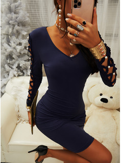 Solid Bodycon Long Sleeves Mini Casual Dresses