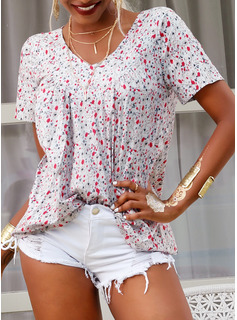 Floral V-Neck Short Sleeves Casual