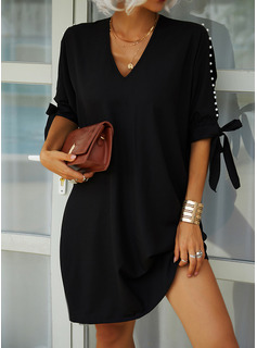 Solid Shift 1/2 Sleeves Cold Shoulder Sleeve Midi Little Black Casual Tunic Dresses