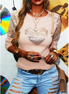 Round Neck Casual Sequins Patchwork Sweaters