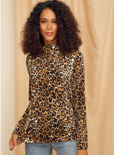 Leopard Long Sleeves Polyester High Neck Knit Blouses