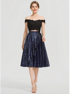 A-Line Knee-Length Sequined Prom Dresses With Ruffle