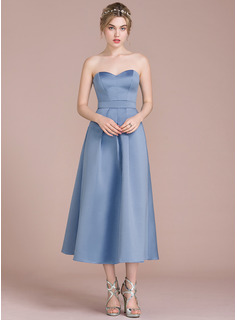 A-Line/Princess Sweetheart Tea-Length Satin Bridesmaid Dress