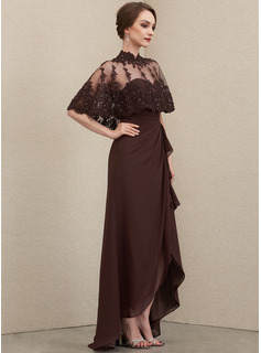 A-Line Sweetheart Asymmetrical Chiffon Mother of the Bride Dress With Cascading Ruffles