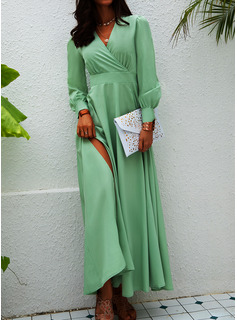 Solid A-line Lantern Sleeve Long Sleeves Maxi Party Elegant Skater Wrap Dresses