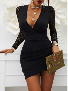 Lace Solid Bodycon Long Sleeves Puff Sleeves Mini Little Black Casual Dresses