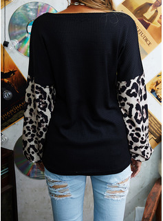 Leopard Sequins One Shoulder Lantern Sleeve Long Sleeves Casual Christmas Blouses